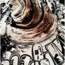 El tornado. Tamaño 100 x 80 cm. Pigmentos y acrílico en lienzo.